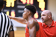 NORTH AUGUSTA, SC. July 10, 2019. Langston Love 2021 #13 of Houston Hoops 17U talks to his coach at Nike Peach Jam in North Augusta, SC. <br /> NOTE TO USER: Mandatory Copyright Notice: Photo by Alex Woodhouse / Jon Lopez Creative / Nike