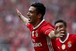 May 13, 2017 - Lisbon, Portugal - Benfica's forward Raul Jimenez celebrates his goal  during Premier League 2016/17 match between SL Benfica vs Vitoria SC, in Lisbon, on May 13, 2017. (Credit Image: © Carlos Palma/NurPhoto via ZUMA Press)