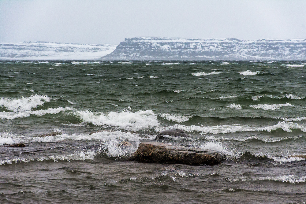 An agitated sea on a very windy day.5