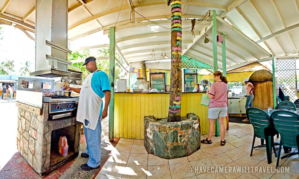 Uncle Joe's Caribbean Barbecue at Cruz Bay, St. John, US Virgin Islands, USA. High resolution panorama.