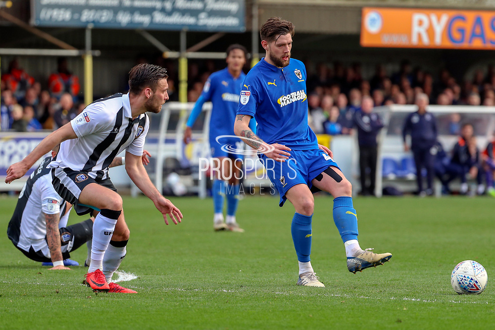 AFC Wimbledon midfielder Anthony Wordsworth (40) passing the ball during the EFL Sky Bet League 1 match between AFC Wimbledon and Gillingham at the Cherry Red Records Stadium, Kingston, England on 23 March 2019.