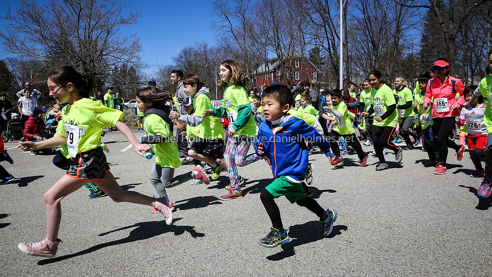 (4/10/16, SHREWSBURY, MA) Runners head out on the course during the 9th annual Shrewsbury Road Scholars 5K and fun run at the Oak Middle School in Shrewsbury on Sunday. Daily News and Wicked Local Photo/Dan Holmes