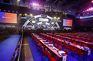 General stadium view inside Alexandra Palace showing walk-on area and the stage, during the World Championship Darts 2018 at Alexandra Palace, London, United Kingdom on 17 December 2018.