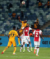 Willard Katsande of Kaizer Chiefs and Nathan Paulse of Ajax Cape Town look to head the ball during the 2016 Premier Soccer League match between Kaizer Chiefs and Ajax Cape Town held at the Moses Mabhida Stadium in Durban, South Africa on the 24th September 2016<br /> <br /> Photo by:   Steve Haag / Real Time Images