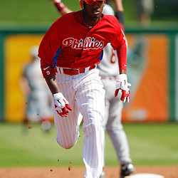 February 24, 2011; Clearwater, FL, USA; Philadelphia Phillies right fielder Domonic Brown (9) during a spring training exhibition game against the Florida State Seminoles at Bright House Networks Field. Mandatory Credit: Derick E. Hingle
