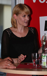 August 29, 2017 - Munich, Bavaria, Germany - Member of the German Parliament Nicole Gohlke spoke with Oliver Nachtwey about his book ''Abstiegsgesellschaft' (Credit Image: © Alexander Pohl/Pacific Press via ZUMA Wire)