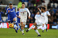 Craig Noone of Cardiff city (l) challenges Jordan Amavi of Aston Villa ®. EFL Skybet championship match, Cardiff city v Aston Villa at the Cardiff City Stadium in Cardiff, South Wales on Monday 2nd January 2017.<br /> pic by Andrew Orchard, Andrew Orchard sports photography.