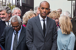 """London, UK. 25 September, 2019. Chuka Umunna, Liberal Democrat MP for Streatham, prepares to return to Parliament with his colleagues on the day after the Supreme Court ruled that the Prime Minister's decision to suspend parliament was """"unlawful, void and of no effect"""". Credit: Mark Kerrison/Alamy Live News"""