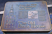 Historic plaque at the Old State House on the Freedom Trail, Boston, Massachusetts