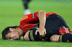 David Villa of Spain (7) injured during the UEFA EURO 2008 Quarter-Final soccer match between Spain and Italy at Ernst-Happel Stadium, on June 22,2008, in Wien, Austria. Spain won after penalty shots 4:2. (Photo by Vid Ponikvar / Sportal Images)