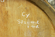 barrel marked with sulphur treatment dom e monnot & f santenay cote de beaune burgundy france