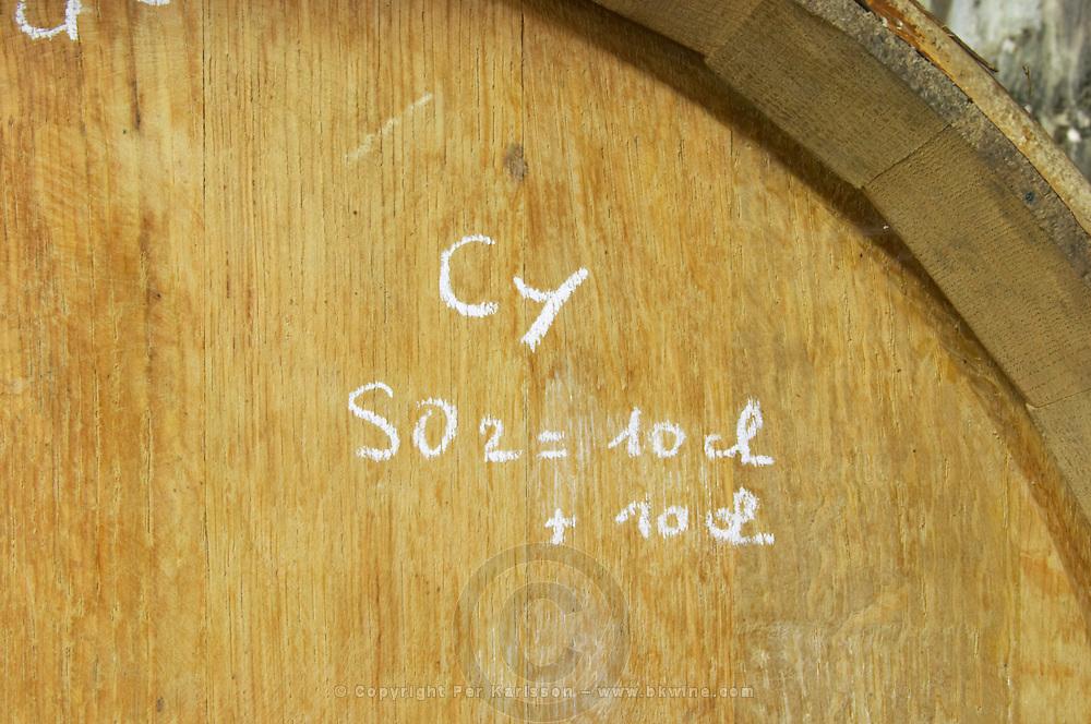 barrel marked with sulphur treatment dom e monnot & f santenay cote de beaune burgundy france