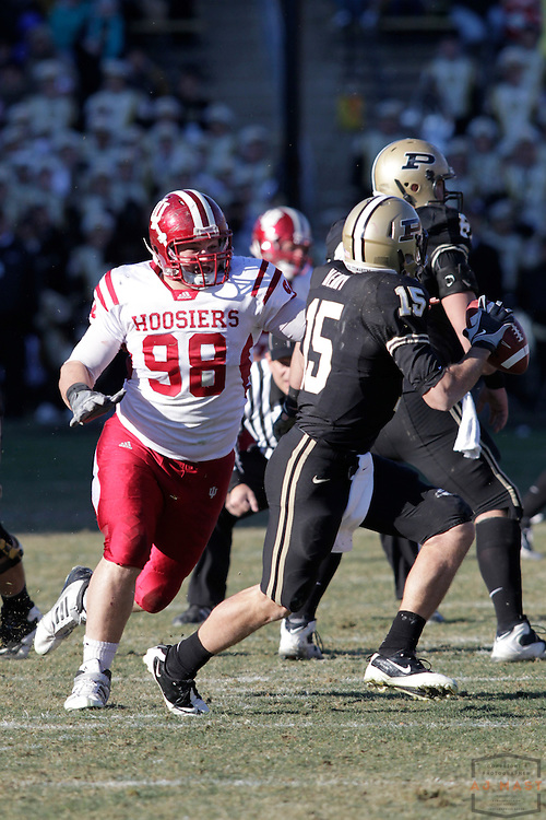 27 November 2010: Indiana Hoosiers defensive tackle Adam Replogle (98)  as the Purdue Boilermakers played the Indiana Hoosiers in a college football game in West Lafayette, Ind.