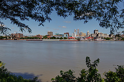03 July 2014:   Peoria riverfront and skyline, late morning from Bass Pro Drive in East Peoria<br /> <br /> This image was produced in part utilizing High Dynamic Range (HDR) processes.  It should not be used editorially without being listed as an illustration or with a disclaimer.  It may or may not be an accurate representation of the scene as originally photographed and the finished image is the creation of the photographer.