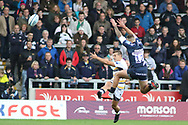 Chris Pennell Worcester Warriors clears during the Gallagher Premiership Rugby match between Sale Sharks and Worcester Warriors at the AJ Bell Stadium, Eccles, United Kingdom on 9 September 2018.