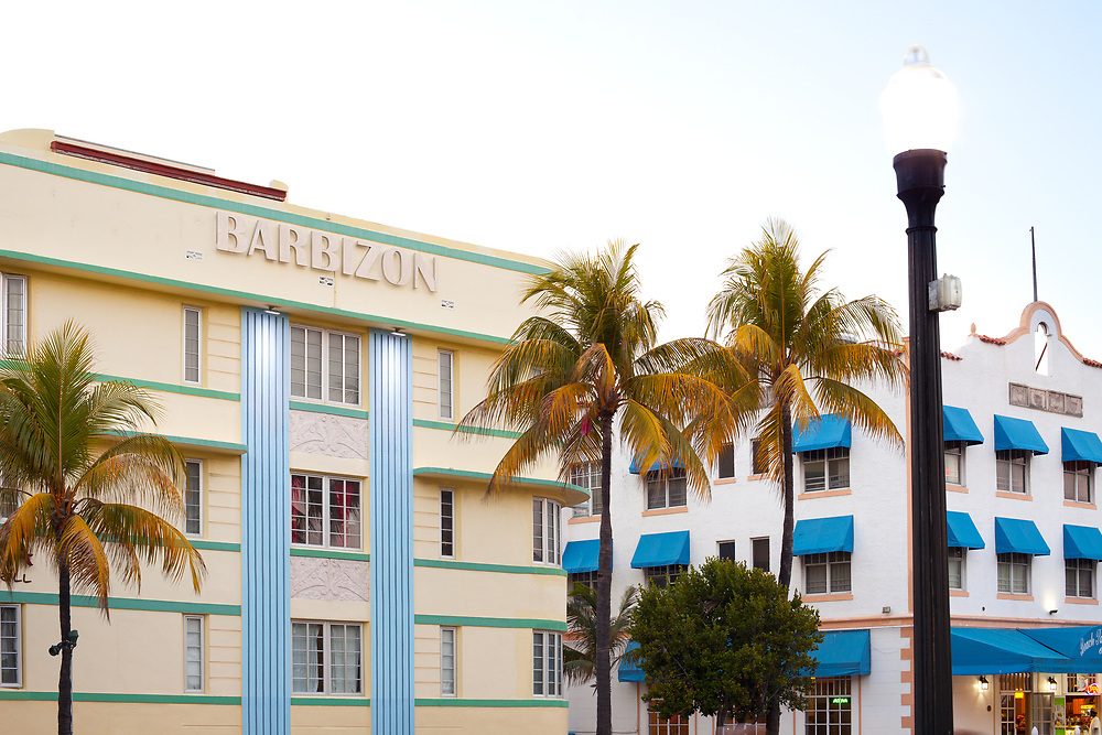 South Beach, Miami, Florida, United States - March 23, 2012: Art Deco buildings at Ocean Drive in the Art Deco destrict at South Beach.
