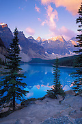 Dawn light on Moraine Lake and the Valley of the Ten Peaks, Banff National Park, Alberta, Canada