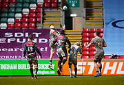 Sale Sharks wing Byron McGuigan catches a high ball during a Gallagher Premiership Round 7 Rugby Union match, Friday, Jan. 29, 2021, in Leicester, United Kingdom. (Steve Flynn/Image of Sport)