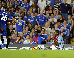 "Aston Villa's Christian Benteke looks up to the referee  - Photo mandatory by-line: Joe Meredith/JMP - Tel: Mobile: 07966 386802 21/08/2013 - SPORT - FOOTBALL - Stamford Bridge - London - Chelsea V Aston Villa - Barclays Premier League - EDITORIAL USE ONLY. No use with unauthorised audio, video, data, fixture lists, club/league logos or ""live"" services. Online in-match use limited to 45 images, no video emulation. No use in betting, games or single club/league/player publications"
