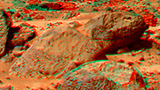 This view of Moe & Pumpkin, part of the Bookshelf at the back of the Rock Garden to the southwest of the lander, was produced by combining the 'Super Panorama' frames from the IMP camera