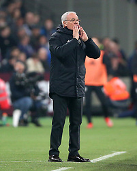 Fulham manager Claudio Ranieri shouts from the touchline during the Premier League match at London Stadium.