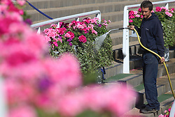 Flowers are watered in the ground before day four of Royal Ascot at Ascot Racecourse.