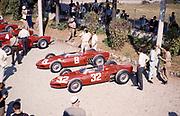 Ferrari Formula One team in pits with sharknose Ferrari 156 F1 cars, Ferraris, Monza Grand Prix, Italy  1961