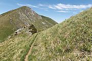 View of Sommet de Pique Poque during climb to Mount Cagire
