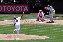 May 13, 2018 - Anaheim, CA, U.S. - ANAHEIM, CA - MAY 13: Los Angeles Angels of Anaheim pitcher Shohei Ohtani (17) throws a pitch to Minnesota Twins catcher Bobby Wilson (46) in the second inning of a game played on May 13, 2018 at Angel Stadium of Anaheim in Anaheim, CA. (Photo by John Cordes/Icon Sportswire) (Credit Image: © John Cordes/Icon SMI via ZUMA Press)