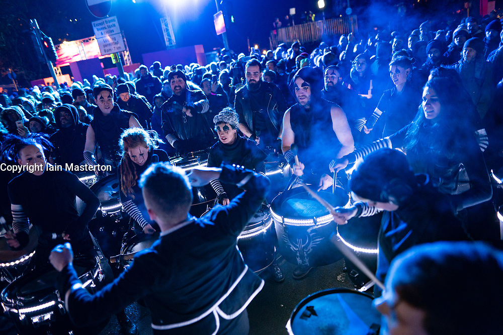 Edinburgh, Scotland, UK. 31st Dec 2019. Edinburgh's famous Hogmanay party. Pictured Edinburgh's Harbingers Drum Crew. Iain Masterton/Alamy Live News
