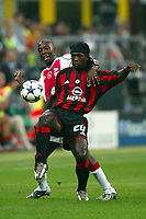 Milano 16/9/2003 <br />Champions League <br />Milan Ajax 1-0 <br />Clarence Seedorf (Milan) challenged by Hatem Trabelsi (Ajax) <br />Foto Andrea Staccioli Graffiti