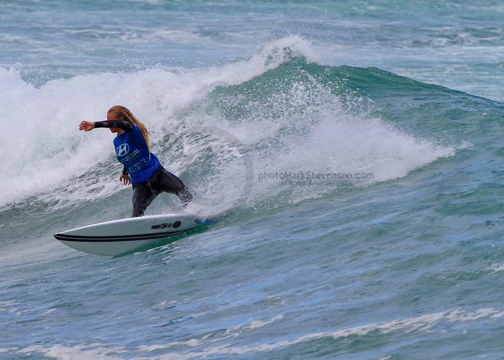 Surfing action from the Grom series number one  for the 2020/1 season, held in moderate to heavy surf at St Clair Beach, Dunedin