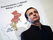 """Wednesday, November 12, 2008<br /> Pristina, Kosovo<br /> The leader of Self-Determination, Albin Kurti on Wednesday said that Kosovar leaders must keep an unwavering  rejection against this plan, considering how gravely will damage Kosovo in case of accepting it.<br /> <br /> Kurti, added that there is a likely possibility to miss another political momentum to keep Kosovo sovereign like we did miss in 1999. Albin stressed that """"Kosovo has its Constitution, therefore, police, justice, customs, border control, transport and culural heritage are interior matters of the Republic of Kosovo.""""<br /> <br /> Activists of the Self-Determination Movement also introduced their proposition where Kosovo should  seriously focus on its territorial integrity and economic development.<br /> <br /> Otherwise, they said if the Government of Kosovo does not resists this destructive UN plan, the Movement will organize massive protests and demonstrations.<br /> <br /> Vedat Xhymshiti / ZUMA Press"""