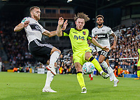 Football - 2018 / 2019 EFL Carabao Cup (League) Cup - Fulham vs. Exeter City<br /> <br /> Calum Chambers (Fulham FC) and Matt Jay (Exeter FC) compete for the ball at Craven Cottage.<br /> <br /> COLORSPORT/DANIEL BEARHAM