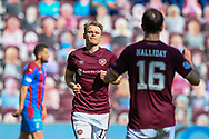 GOAL 1-0 Gary Mackay-Steven (#17) of Heart of Midlothian FC runs to celebrate after he scores the opening goal during the SPFL Championship match between Heart of Midlothian and Inverness CT at Tynecastle Park, Edinburgh Scotland on 24 April 2021.