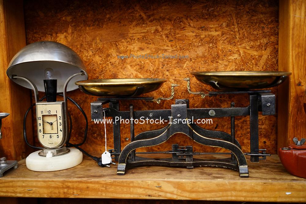 Old vintage balance scale on display