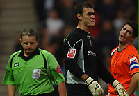 Photo: Paul Greenwood.<br />Preston North End v Luton Town. Coca Cola Championship. 04/11/2006. Luton keeper, centre, Marlon Beresford reacts after referee Mr CH Webster shows him the red card.