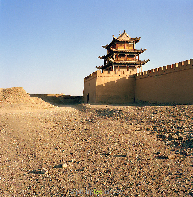 The Jiayuguan Fort, first pass at the end of the Great Wall of China, Silk Route; Jiayuguan, Gansu Province, China. Jiayuguan is one of the main passes of the Great Wall.
