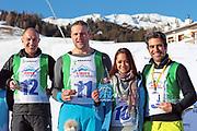Stefan Regez, Nöldi Forrer, Alina Buchschacher und André Roger Weiss, Gewinner vom «Renzo's Schneeplausch» vom 23. Januar 2016 in Vella, Gemeinde Lumnezia.