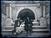 two women posing with baby in garden France circa 1930s