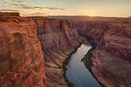 Horseshoe Bend, sunset, Colorado River, Glen Canyon National Recreation Area, near Page, Arizona