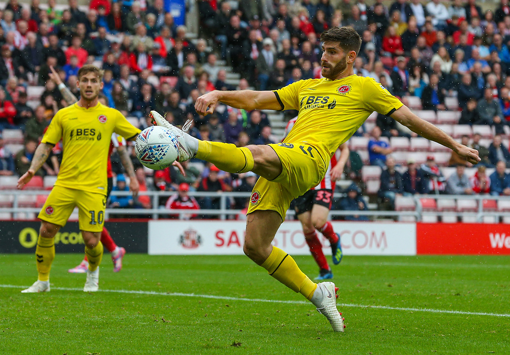 Fleetwood Town's Ched Evans can't quite connect with a pass<br /> <br /> Photographer Alex Dodd/CameraSport<br /> <br /> The EFL Sky Bet League One - Sunderland v Fleetwood Town - Saturday September 8th 2018 - Stadium of Light - Sunderland<br /> <br /> World Copyright © 2018 CameraSport. All rights reserved. 43 Linden Ave. Countesthorpe. Leicester. England. LE8 5PG - Tel: +44 (0) 116 277 4147 - admin@camerasport.com - www.camerasport.com