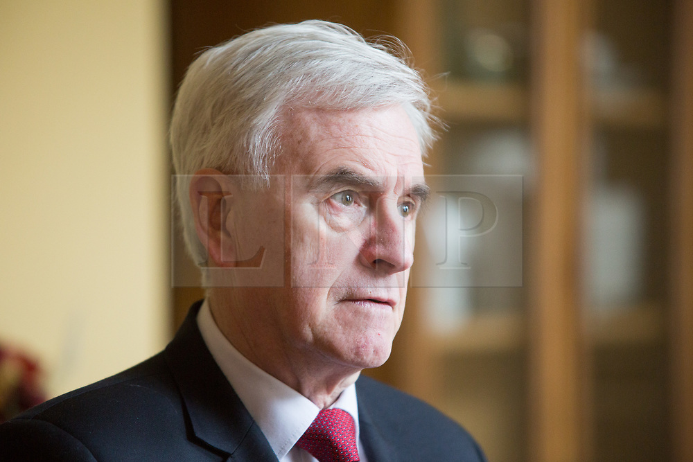 """@Licensed to London News Pictures 16/03/2019. Gravesend, UK. The Shadow Chancellor, Mr John McDonnell MP attends the one day conference at the Old Town Hall in Gravesend today where he will be setting out plans for the Labour Party's """"Road to Rebuilding the Economy"""" plans.Photo credit: Manu Palomeque/LNP"""
