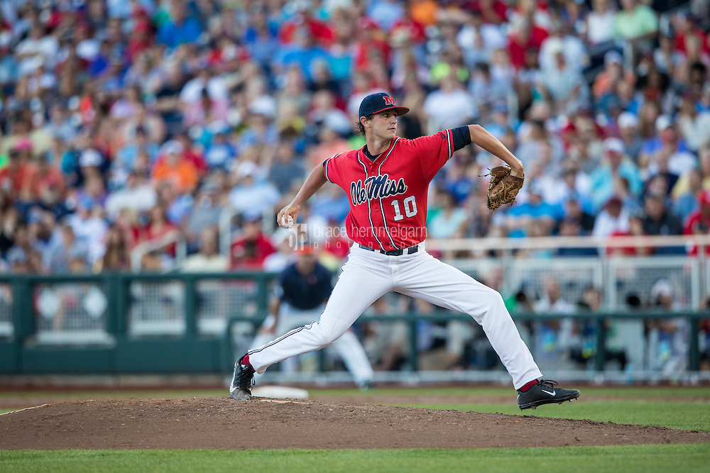 Ole Miss Rebels pitcher Chris Ellis #10 pitches during Game 4 of the 2014 Men's College World Series between the Ole Miss Rebels and Virginia Cavaliers at TD Ameritrade Park on June 15, 2014 in Omaha, Nebraska. (Brace Hemmelgarn)