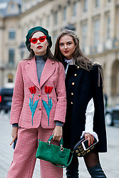Street style, Karina Nigay and Kristina Krayt arriving at Ulyana Sergeenko Spring-Summer 2018 Haute Couture presentation held at Place Vendome, in Paris, France, on January 23rd, 2018. Photo by Marie-Paola Bertrand-Hillion/ABACAPRESS.COM