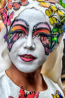 Butterflies Are Free: This glorious display of makeup artistry incorporates the theme of freedom exemplified by the butterfly, at the Gay Pride Parade, Vancouver British Columbia Canada.