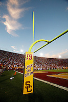 1 September 2007: Tribute to #19 Mario Danelo on the field goal posts.  USC Trojans college football team defeated the Idaho Vandals 38-10 at the Los Angeles Memorial Coliseum in CA.  NCAA Pac-10 #1 ranked team first game of the season.