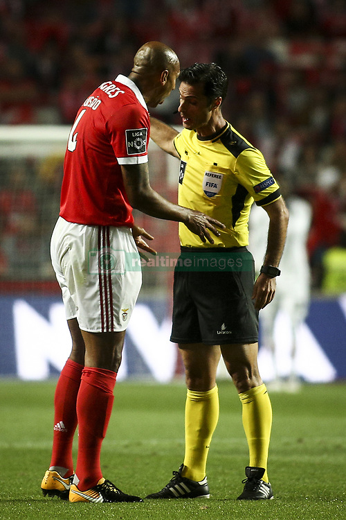 August 9, 2017 - Lisbon, Portugal - Benfica's defender Luisao speaks with Portuguese referee Carlos Xistra during the Portuguese League  football match between SL Benfica and SC Braga at Luz  Stadium in Lisbon on August 9, 2017. (Credit Image: © Carlos Costa/NurPhoto via ZUMA Press)