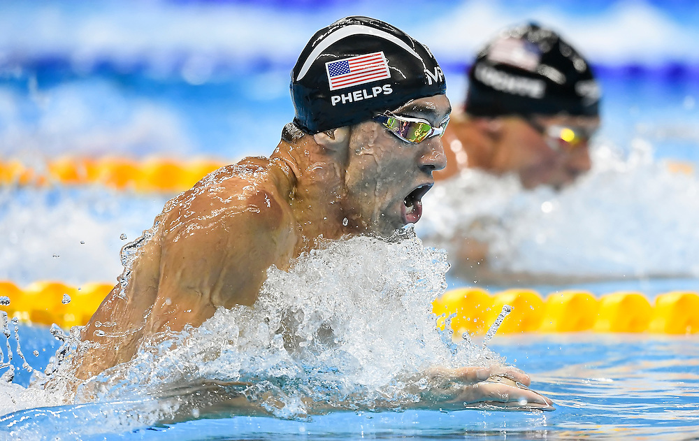 United States swimmer Michael Phelps, left, won the gold medal in the men's 200m individual relay on Thursday at the Olympic Aquatics Stadium during the 2016 Summer Olympics Games in Rio de Janeiro, Brazil. At right is teammate Ryan Lochte, who finished fifth.