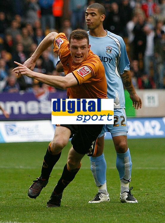 Photo: Steve Bond.<br />Wolverhampton Wanderers v Coventry City. Coca Cola Championship. 06/10/2007.  Neill Collins turns to celebrate as his header hits the back of the net
